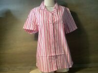 Blair Womens PARFAIT CAMP SHIRT BUTTON UP SHORT SLEEVE PINK WHITE NWOT NEW M L