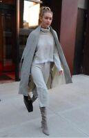 derek lam 10 crosby grey knit turtleneck sweater cropped wide leg pants szL