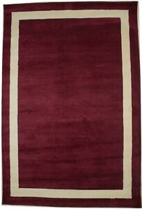 Wine Red Hand-Tufted Area Rug 6X9 Modern Foyer Contemporary Home Decor Carpet