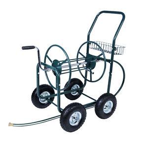 Top Review Garden Water Hose Reel Cart Outdoor Heavy Duty-Yard Planting W/Basket