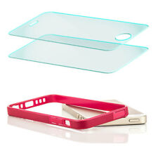2x Echt Glas + TPU Bumper Case für Apple iPhone 5 S SE Schutz Hülle Handy Tasche