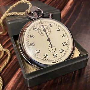 RARE Soviet Stopwatch Agat Zlatoust Mechanical Pocket Made in USSR Vintage + Box