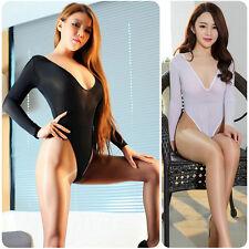 Women Ladies Sheer Mesh Bodysuit Long Sleeve Lingerie Leotard Top Body Stocking