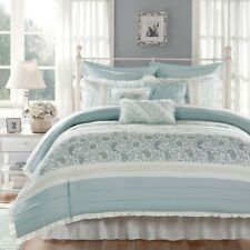 Beautiful Shabby Cottage Country Blue White Chic Ruffle Cozy Comforter Set King