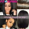 Brazilian Virgin Human Hair Lace Front Wig Short Bob Full Wigs Baby Hair Black
