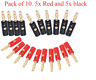 Gold Plated Banana Plug Stackable 4mm Speaker Connector Black Red X 10