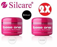 2x Base One Clear 50g Acid Free UV Gel Nails Acid Free Builder File Off Silcare