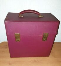 "Vintage Vinyl 12"" LP Record Storage Case with Handle - Cherry Red"