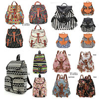 New Vintage Women's Canvas Travel Satchel Shoulder Bag Backpack School RucksackT