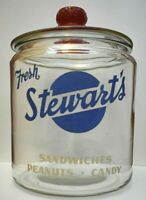 Antique/Vintage Stewart's Fresh Sandwiches Peanuts Candy Glass Store Display Jar
