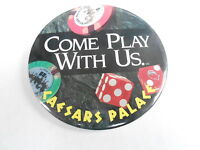 "VINTAGE 3"" PROMO PINBACK BUTTON #98-059 - CAESARS PALACE - COME PLAY WITH US"