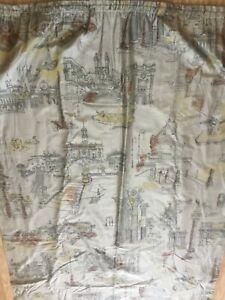 Cohama vintage hand print single curtain, 103 inch drop.
