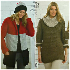 KNITTING PATTERN Ladies 3 Colour Coat, Hat, Dress & Cowl Super Chunky KC 4066