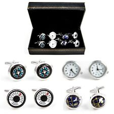 Traveler Working Watch Thermometer Compass Globe 4 Pairs Cufflinks Gift Boxed