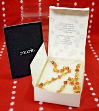 """AVON 2005 Mark NECKLACE Simulated Amber GYPSY Gem 17"""" Collect Woman Brown NW Box"""