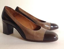 Bally Bellezza Brown & Taupe All Leather Mid Heel Court Shoe UK 3.5 E EU 36.5 E