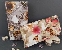 Neue Exclusive Designer Damen Geldbörse Portemonnaie Groß Brieftasche Butterfly