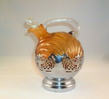 Vintage Farber Bros Krome Kraft Amber Pitcher Decanter Jug