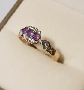Vintage 9ct Gold Amethyst And Diamond Ring Size K