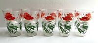 5 Vintage Drinking Glasses 12 oz. Tumblers Red White Green Flowers Swanky Swigs