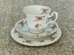 Vintage Richmond Rose Time Pink Roses Bone China teacup- saucer- Side plate trio