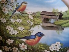 Edwin Knowles china decorative collectors plate Bluebirds In Spring 1990 MINT