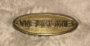 Smith & Hawken Entryway Welcome Metal Sign, Brass - Material: Aluminum