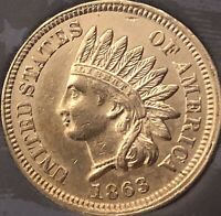 1863 INDIAN HEAD PENNY NEAR 4  DIAMONDS  ***BEAUTIFUL COIN***Cleaned