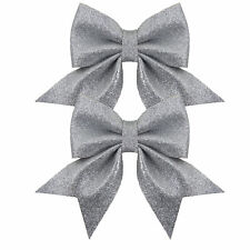 PK X 2 Glitter Deluxe Bows Silver Christmas/wedding/christening Decoration 12cm
