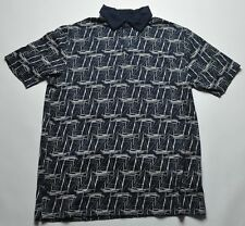 Nautica Boat Pattern Polo LT Large Tall Navy/Cream