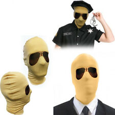 Beige Lycra Spandex Zentai Face Mask w/ Aviator Glasses Halloween Costume Party
