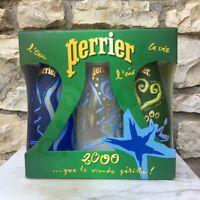 Coffret de 3 bouteille de Perrier pleine année 2000 collector, vintage