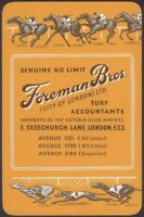Playing Cards 1 Single Card Old FOREMAN BROS. Turf Accountant Advertising HORSES