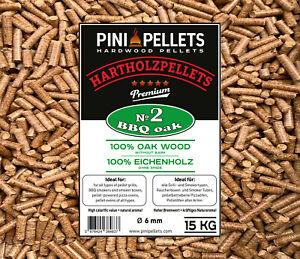 PINI Grillpellets №2 BBQ Eiche 15Kg Hartholzpellets zum Grillen Räuchern Smoken