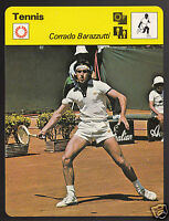 CORRADO BARAZZUTTI Italian Tennis Player Photo 1979 SPORTSCASTER CARD 75-19