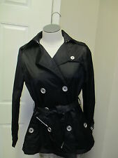 Jou Jou Lightweight Double Breasted Belted Short Trench Coat S Black NWT