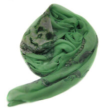 Carefree Ultra Soft Scarf Skull With Feather Crown Wraps Green