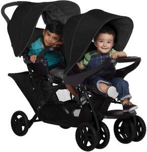 Graco Stadium Duo Tandem Twin Seat Buggy Stroller Pushchair - Black / Grey