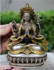 Rare Old Tibetan Buddhism Silver Bodhisattva Kwan-yin Drolma Buddha Statue