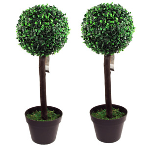 2x Artificial Topiary Ball Potted Plant Indoor Outdoor Garden Tree Approx H65cm
