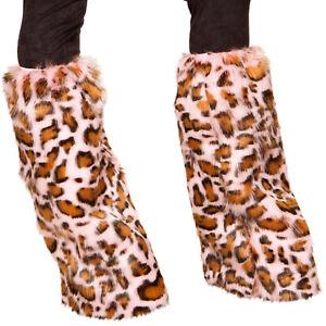 Pink Leopard Print Furry Legwarmers Fuzzy Boot Covers Cat Kitten Costume 4889