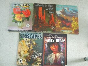 5 BOOKS OF HOW TO DRAW AND PAINT by WALTER FOSTER inc SEASCAPES STILL LIFE HEADS