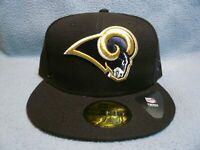 New Era 59fifty Los Angeles Rams Solid BRAND NEW Fitted cap hat Black NFL LA LAR