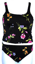 Lands End Womens 8 Black Floral Tankini Shelf Bra 2pc Swimsuit EUC