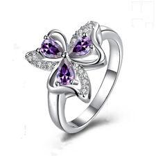 Fashion Jewelry 925 Silver Clover Rhinestone purple Zircon Woman Ring Size 7