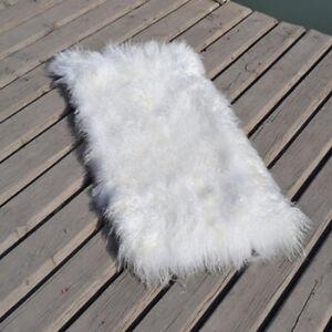 AAAA Genuine Mongolian Fur Rug Throw Hide Curly Tibetan Lamb Plate Accessory