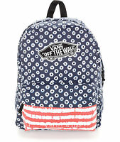 VANS REALM RED/WHITE/BLUE DYED DOTS BACKPACK 100% AUTHETIC MSRP $38-  NEW w/TAG!