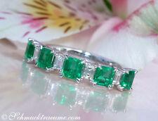 Echte Edelstein-Ringe aus Weißgold mit Smaragd
