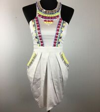 Lipsy London Sheath Dress 6 S White Multi Color Beaded Short Cotton Blend Pocket