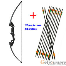 40Lbs Archery Take Down Recurve Bow Hunting Right Hand +12pcs arrows Fiberglass